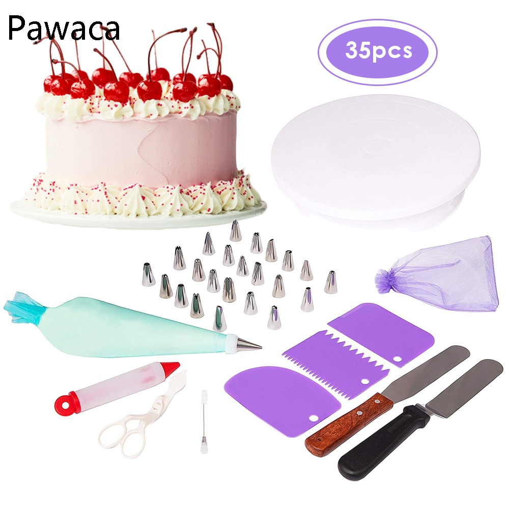 35Pcs Pastry Nozzles Cake Turntable Spatula Bag Converter Stainless Steel Kitchen Baking Cake Decorating Tools Cream Mouth