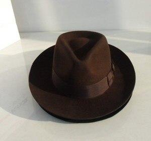 Image 1 - Wolle Fedora Hut Unisex Filz Fedoras Hüte Erwachsene Mode Trilby Hüte Beliebte Headwear Wolle Fedora Trilby Hüte Mann der Kappe B 8130