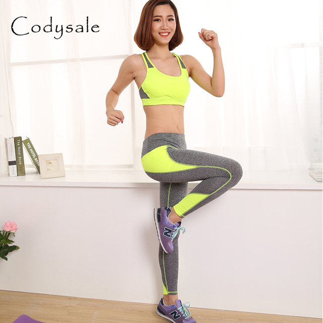 da380114f2 Codysale Fashion Women Sets Patchwork Suits Padded Bra Top + Elastic  Leggings Female Leisure Exercise Sets