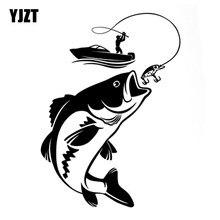 YJZT 12.3CM*17.1CM Interesting Fishing Fisherman Hobby Fish Boat Car Stickers Vinyl Decal S9-0720