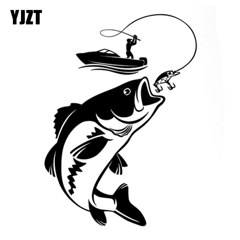 YJZT 12.3CM*17.1CM Interesting Fishing Fisherman Hobby Fish Boat Car Stickers Vinyl Decal S9-0720