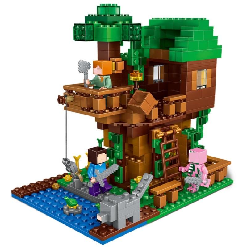 406Pcs Enlighten Mine World Minecrafted The Tree House Building Blocks Brick My Craft Figures Kids Educational