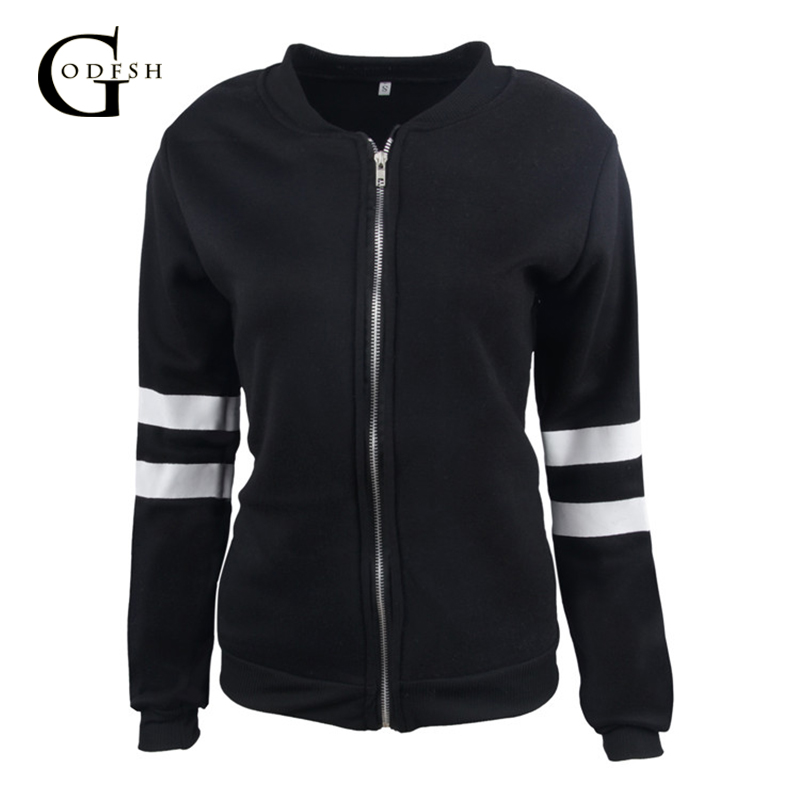 Women's   Basic     Jacket   2018 Spring Long Sleeve Causal Coat Autumn Black White   Jacket   With Zipper WH027