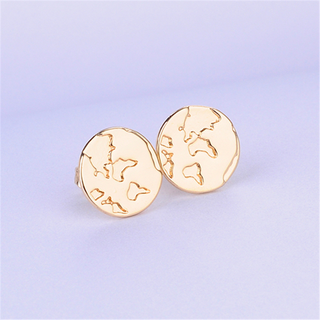 Outdoor Style World Map Earring Round Earrings Jewelry Land And Ocean Look Around The