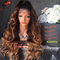 8A Grade Ombre Full Lace Wig Human Hair 3 Tone Ombre Lace Front Wig Brazilian Virgin Hiar Wavy Ombre 200 density Human hair Wigs
