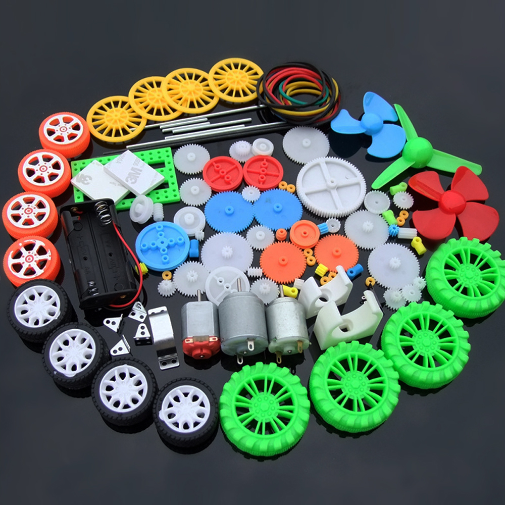 New 112pcs Plastic Gear Gearbox Electronics DIY Toy Car Boat RC Aircraft Robot Repair Assembly Kit School Scientific Child Gift