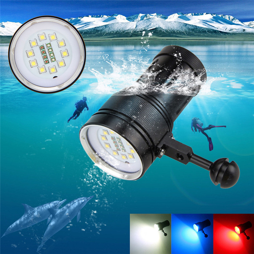 10x XM-L2+4x R+4x B 12000LM LED Photography Video Scuba Diving Flashlight Outdoor Bike Cycling Accessories High Quality May 4