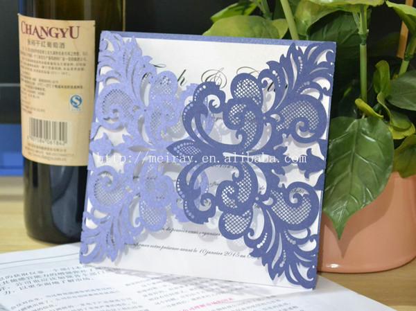 de boda azul marino elegante papel del corte del laser de la invitacin del