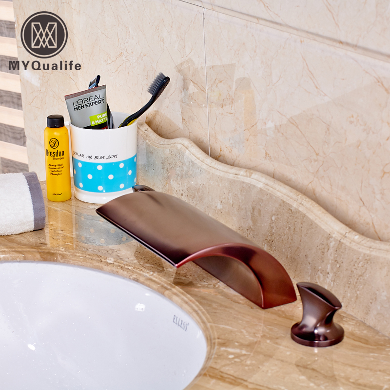 Oil Rubbed Bronze Basin Sink Faucet Deck Mount 3pcs Widespread Bath Dual Handles Brass Mixer Taps freeshipping wall mount tooth brush holder oil rubbed bronze bath dual cups&tumbler holders