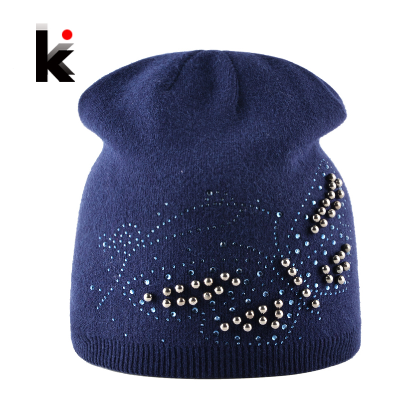 Ladies Knitted Bonnet Beanies Cap Women Pearls Butterfly Rhinestone Rabbit Wool Hat For Girls Autumn And Winter Female Skullies femme skullies autumn beanies winter warm chapeau women hat female knitted cap ladies bonnet