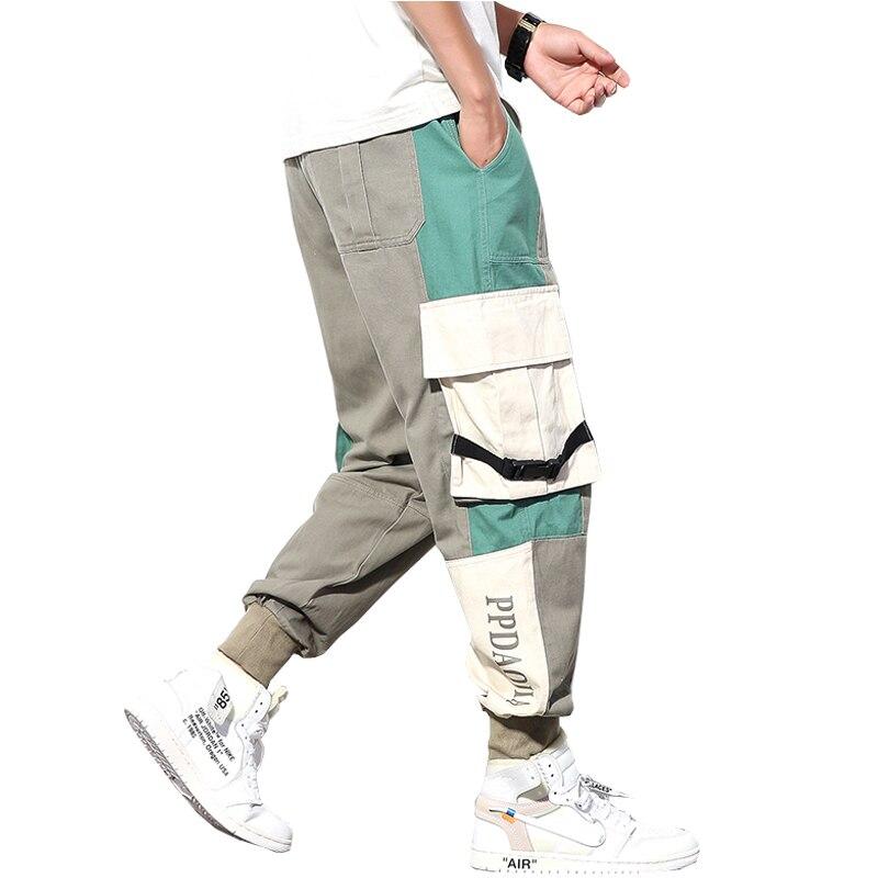 2019 New Autum Men Strretwear Cargo Pants Stitching Color Joggers Hip Hop Pants Men Elastic Waist Trousers Man ABZ406