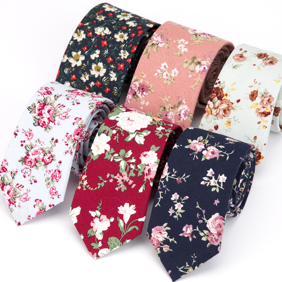 IHGSNMB Necktie Cotton Flower Classical Colorful Floral Stitching Lovely Neck Ties