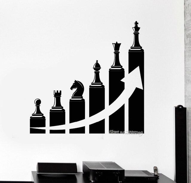 Success Career Ladder Chess Stickers Vinyl Wall Decal Office Decoration Art Tattoo Study Room Custom