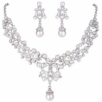 BELLA Flower Necklace Earrings Set For Bridal Ivory Pearl Made With Swarovski Elements Crystal Chandelier Jewelry