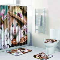 Ev dekorasyon duş perde seti polyester su geçirmez duş perdesi 180x180cm banyo mat seti banyo halı seti