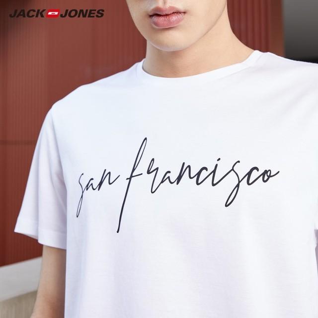 JackJones Men's 100% Cotton Letter printed T-Shirt Solid Color T shirt Top Tee Tshirt for Men 2019 New Menswear|219201508