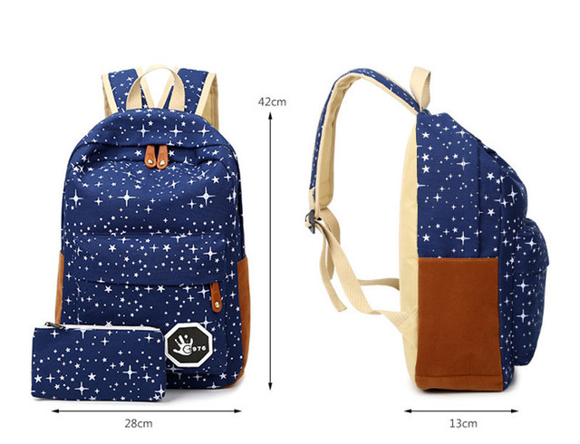 Fashion Star Women Canvas Backpack Schoolbags School For Girl Teenagers Casual Travel Bags Rucksack Cute Printing 5