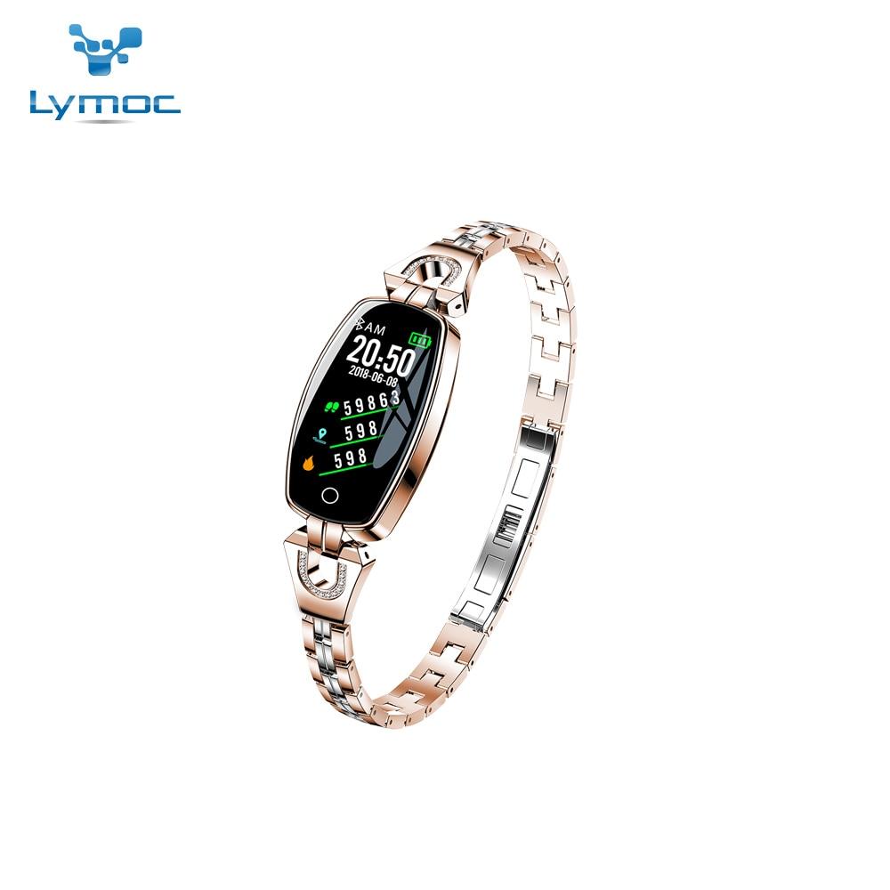 LYMOC H8 montre intelligente femmes dame Smartwatch mode porter Bracelet en acier inoxydable Bracelet bijoux montre affaires formelle argent