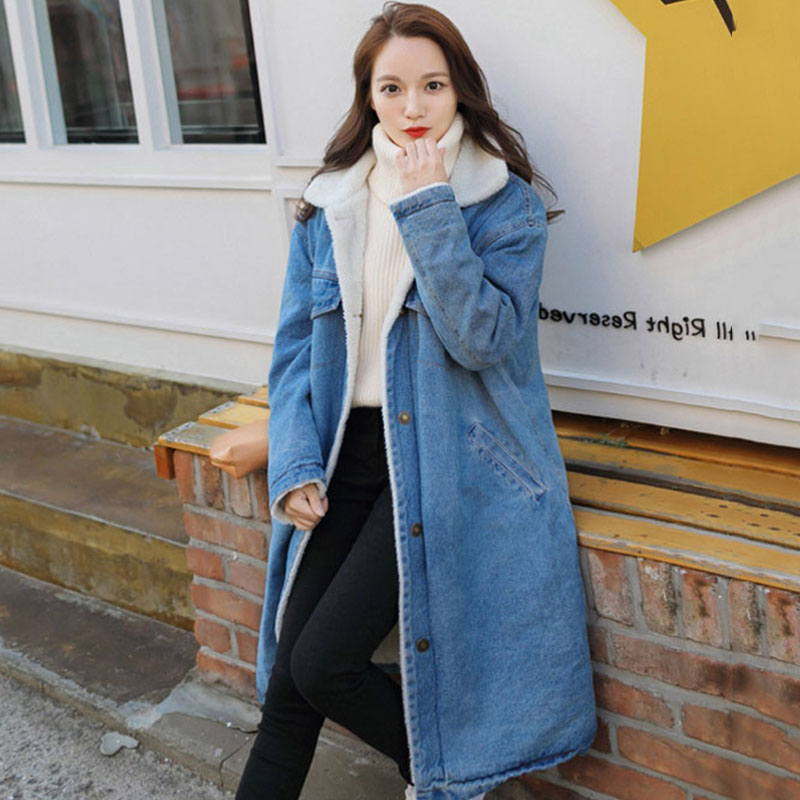 new women Long windbreak plus velvet denim   trench   coat women's winter oversized loose warm lamb cotton padded female outerwear