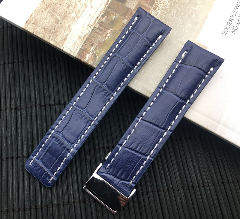 Image 4 - Luxury Genuine Leather Watch Band Watchband For Breitling strap for NAVITIMER WORLD Avenger/navitimer belt 22mm 24mm logo on-in Watchbands from Watches