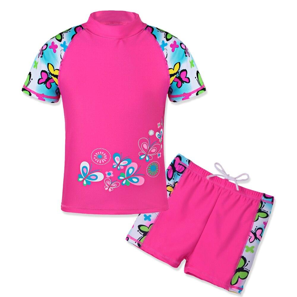 BAOHULU UPF50+ Children 2pcs Swimsuit Short Sleeve Butterfly Girls Swimwear Toddler&Youth Beachwear For Kids Bathing Suit Infant