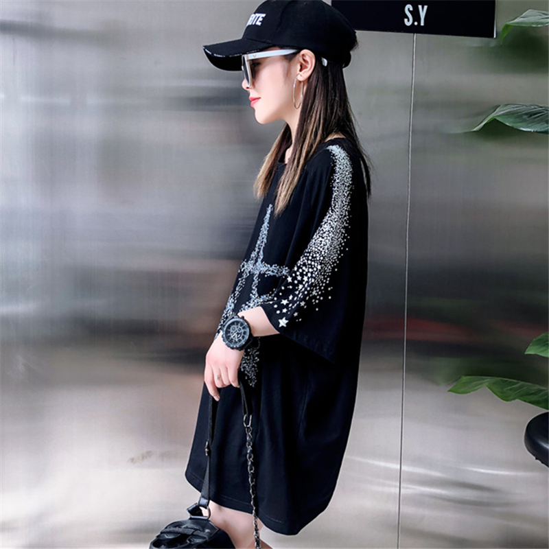 Loose Fashion Five-Pointed Star Dark Printing Short-Sleeved T-Shirt Female 2019 Summer New Round Neck T-Shirt Top H0056 3