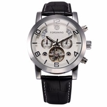 FORSINING Mannen Klok Automatische Roestvrij Staal Case Zwart Lederen Band Complete Clendar Display Mannen Casual Mechanisch Horloge