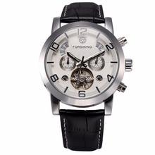 FORSINING גברים שעון אוטומטי נירוסטה מקרה שחור עור רצועת להשלים להציג Clendar גברים מזדמן מכאני שעון