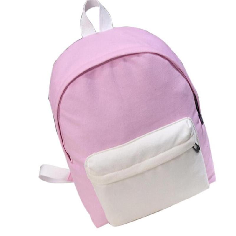Sale Girls Boys Canvas Black Pink White Panelled School Bag Travel Backpack Satchel Women Shoulder bag Rucksack Mochila mujer casual canvas satchel men sling bag