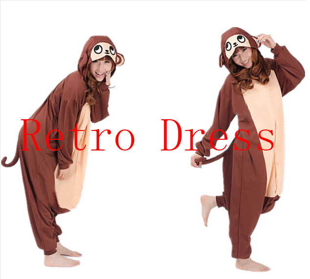2015 Finnal Adult Cute Anime Onesie Hooded Baboon Monkey Pyjamas Cosplay Pajamas Halloween Animal Costume Animal Sleepwear