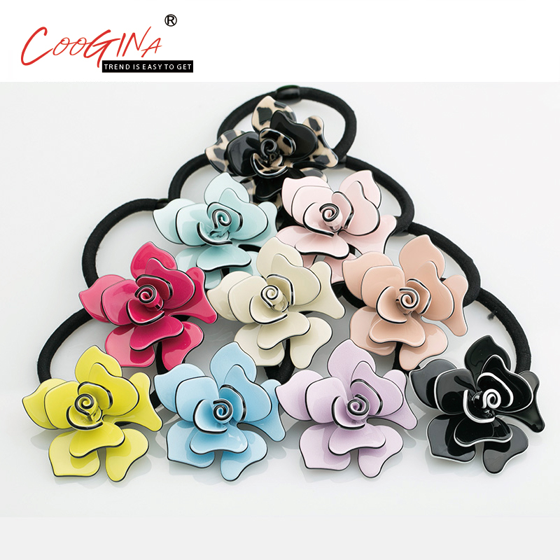 Coogina 2018 New Rose Flower Rubber Bands Fashion Women Hair Accessories Jewelry Headbands Girl Elastic Pure Color Hair Bands 1pc fruit slice multi patterns hair accessories girl women elastic rubber bands hair clips headwear tie gum holder rope hairpins