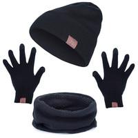 2017 Winter Scarf Hat Glove Sets Men Women Warm Thick Unisex Gloves Set Unisex Caps Scarves Sets Male Female 6 Colors