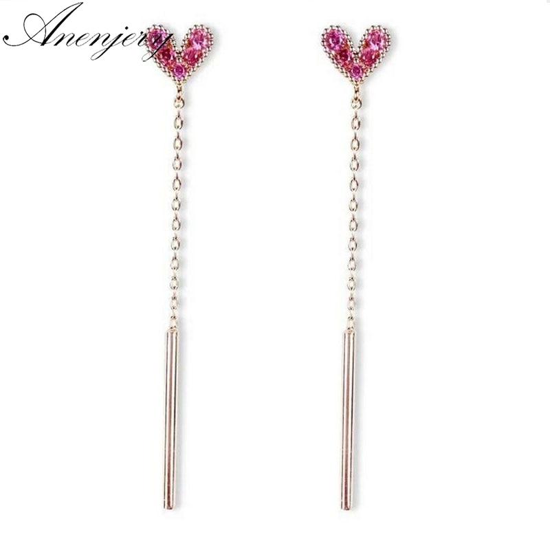 Anenjery New Fashion 925 Sterling Silver Earrings For Women Pink CZ Heart Long Tassel Earrings Sterling-silver-jewelry S-E481