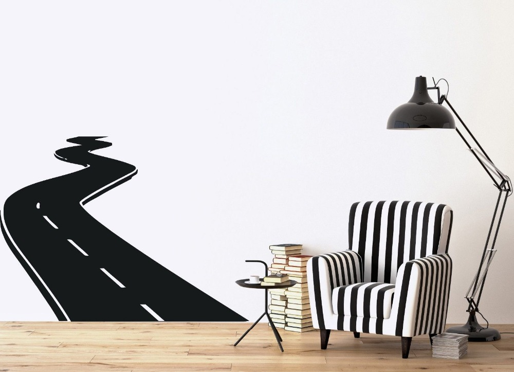 3d Wall Sticker Direction Road Course Speed Track Vinyl Decal Removable Wall Sticker Home Decor Living Room Office Wall Art 934