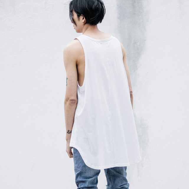Hi-street Front Short Back Long Mens Tank Top Hip Hop Men's Tops Oversize Black Grey White