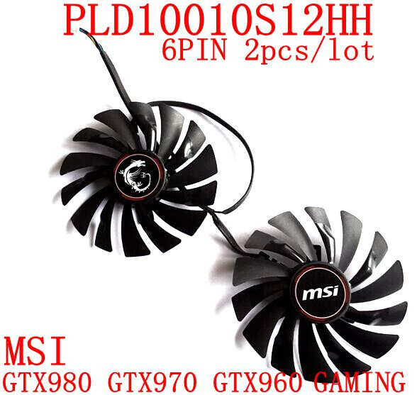 Free Shipping 2pcs/lot PLD10010S12HH 6PIN 95mm DC12V 0.4A for MSI GTX980 GTX970 GTX960 GAMING Graphics card fan free shipping pld10010s12hh gtx 980 gtx970 graphics card fan for msi gtx980 970 gaming vga video card heatsink cooling