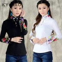 KYQIAO Chinese stijl shirt vrouwen 2017 herfst etnische zwart wit stand kraag geborduurd t-shirt vrouwelijke lange mouwen top blusa