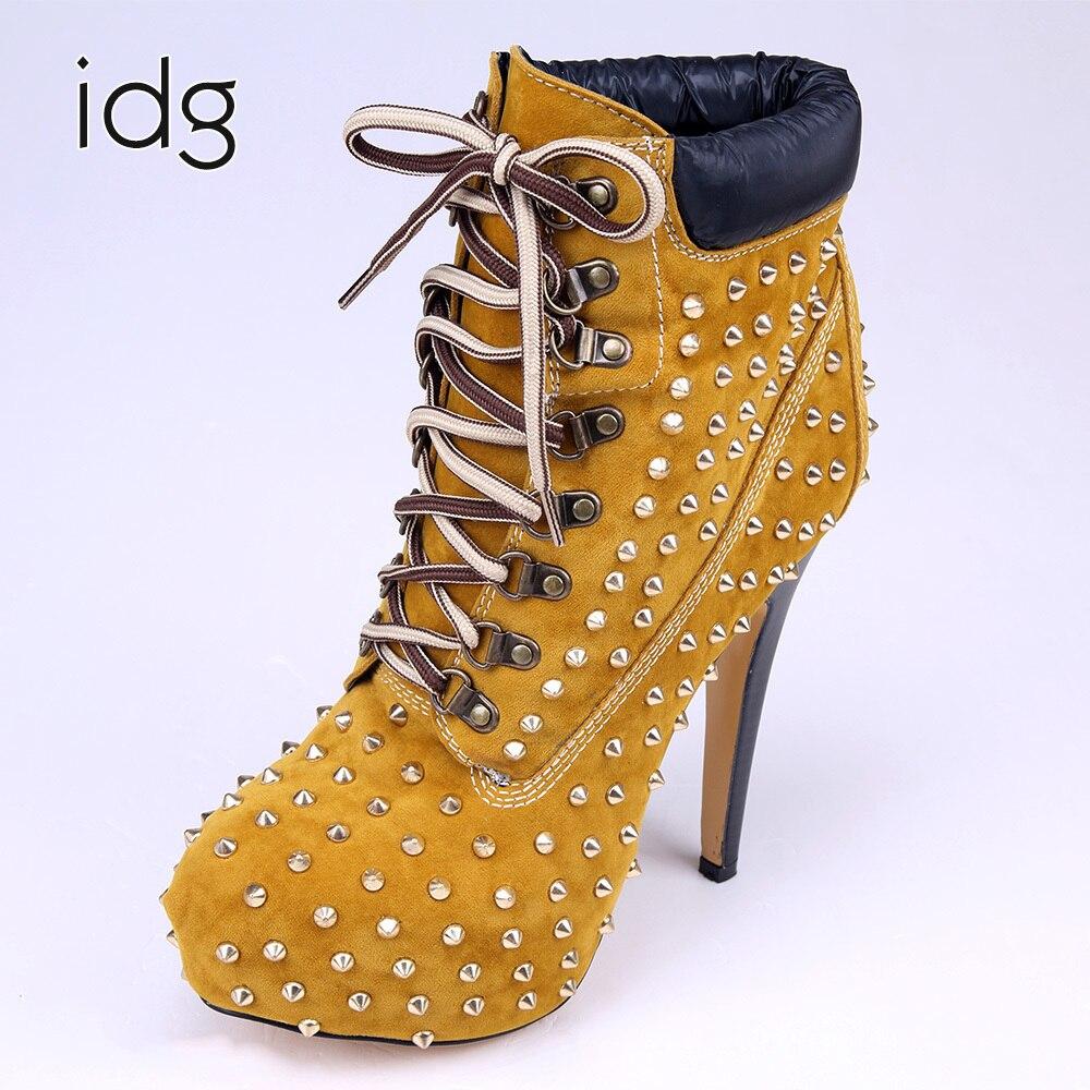 Idg Brand Brown Metal Rivets Nylon Shoelace High feminina Heels Woman Boots women Winter Plus Plush Keep Warm bota mujer
