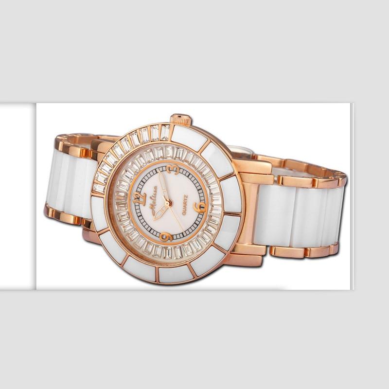 Melissa Classic Business Design Women Simple Fashion Ceramic Watches Luxury Rhinestone Bracelet Watch Quartz Montre Femme Reloj цена
