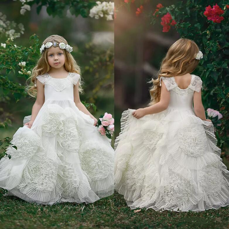 Princess Lovely Flower Girl Dresses For Wedding Tiered Tulle Lace Beads Pageant Gowns Girls Party Dress First Communion Gown 2018 purple v neck bow pearls flower lace baby girls dresses for wedding beading sash first communion dress girl prom party gown