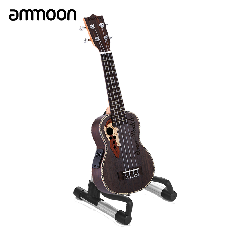 "ammoon Ukuklele 21"" Acoustic Ukulele 15 Fret 4 Strings Guitar Ukulele Built in EQ Pickup with Ukulele Stand Holder-in Ukulele from Sports & Entertainment    1"