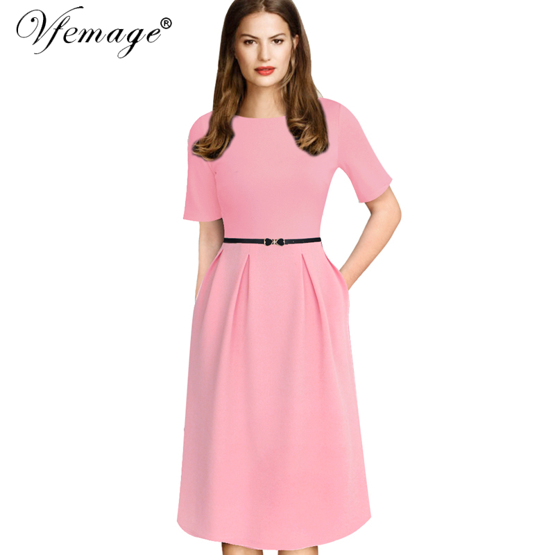 VfEmage Womens Elegant Vintage Spring Polka Dot Belted Tunic Pinup Wear To Work Office Casual Party A Line Skater Dress 2127 polka dot