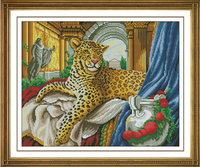 Top Quality Unprinted Counted Cross Stitch Kits 14ct Animals Leopard Aristocratic Pet Sewn Completely Embroidery 18