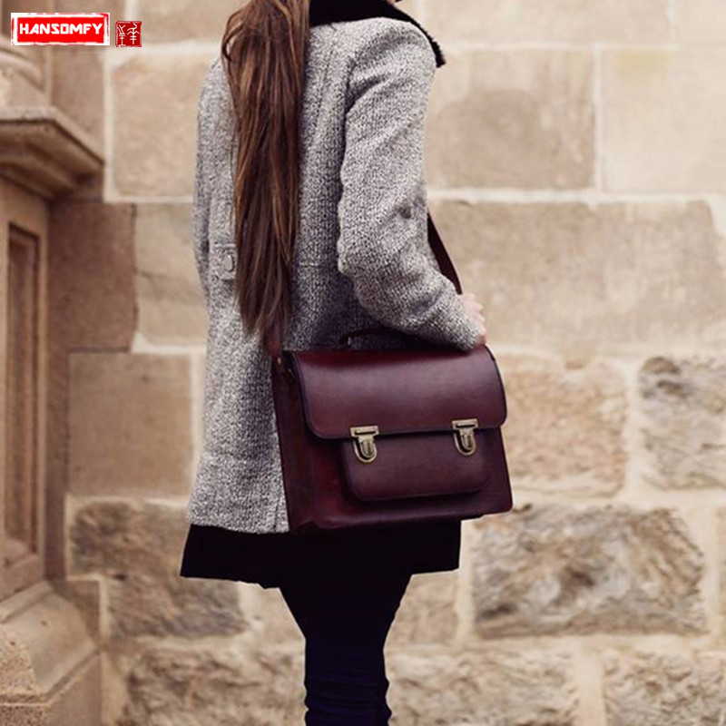 HANSOMFY Genuine leather Handmade Women handbags cowhide retro lock shoulder bag female laptop briefcase diagonal cross