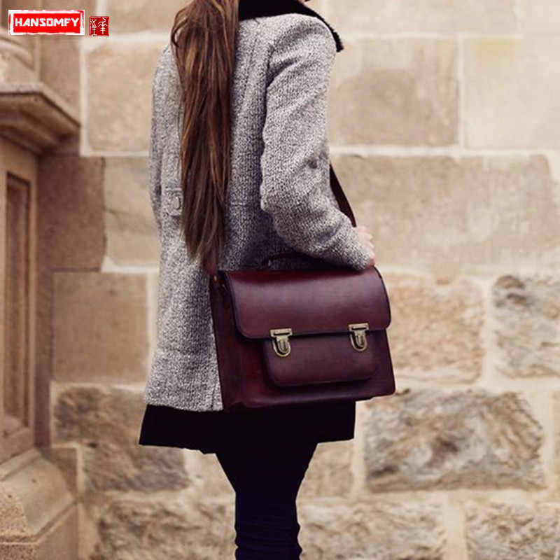 HANSOMFY Genuine leather Handmade Women handbags cowhide retro lock shoulder bag female laptop briefcase diagonal cross bags