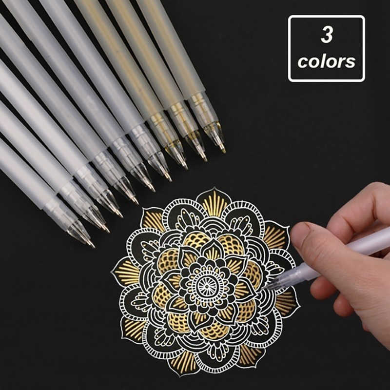 White/Gold/Silver Premium White Gel Pen Set Line Fine Tip Sketching Pens for Artists Drawing Design Illustration Art Supplies