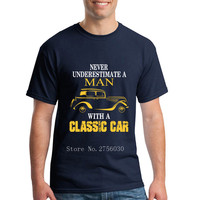Classic Car Graphic Print Men's T-shirt White Summer Style Tshirt Male Printed Men T Shirts Hiphop S - 3XL Swag