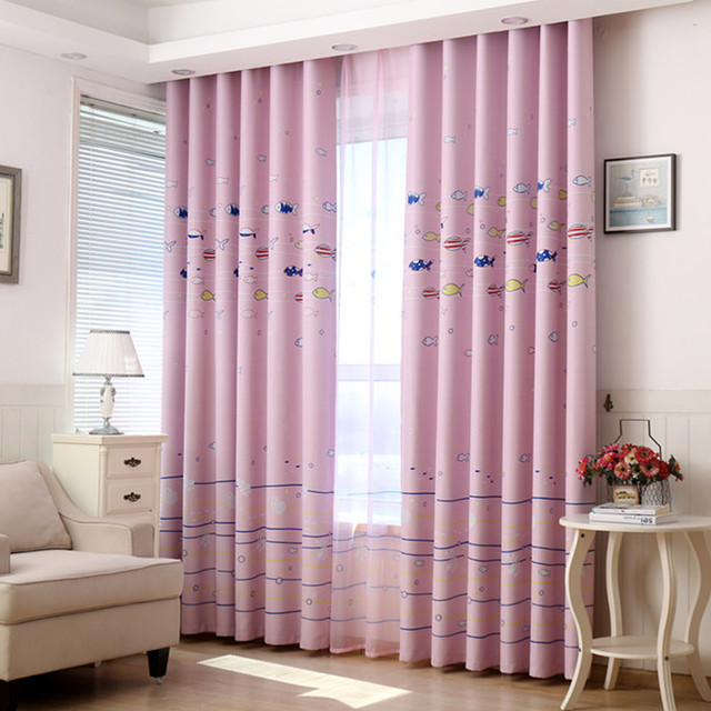 Cartoon Curtain Fabric Underwater World Children\'s Curtains Living ...