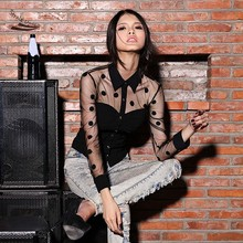 2014 Women Blouses Fashion Long Sleeve Sexy Retro Polka Dot Shirt Blouse Blusas L XL b7