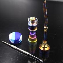 Rainbow Titanium Nail Color straight sword Carb Cap Dab Tool Dabber Silicone Jar